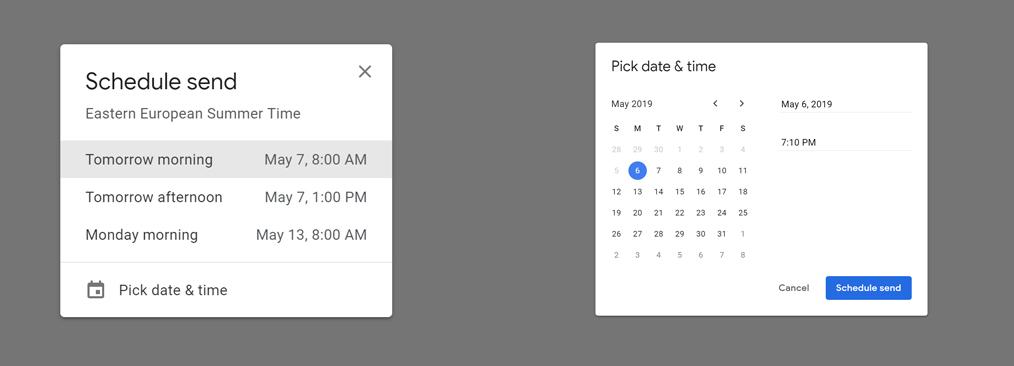 Cum programezi trimiterea unui email pe Gmail - Alege o dată sugerată sau poți stabili tu data și ora la care să trimiți email-ul