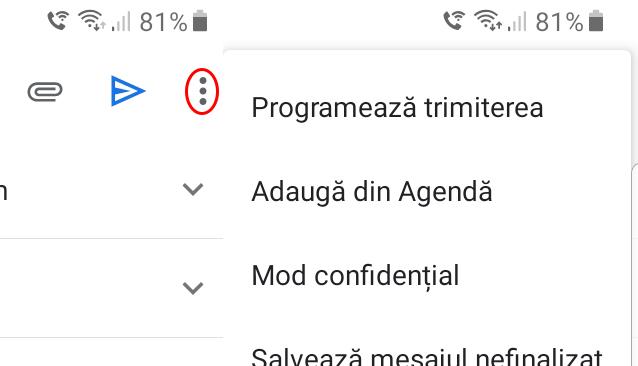 Cum programezi trimiterea unui email pe Gmail - Pe mobil selectează cele trei puncte verticale