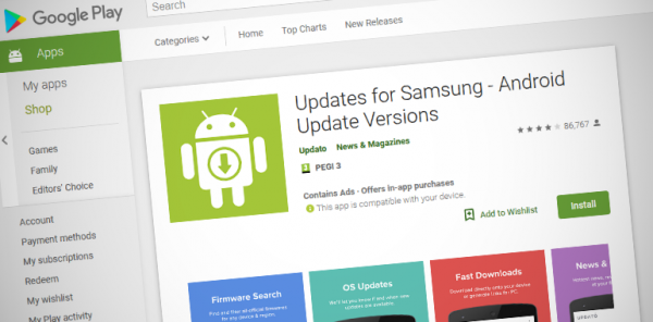 "Aplicația falsă ""Updates for Samsung"" a fost retrasă de pe Google Play Store"