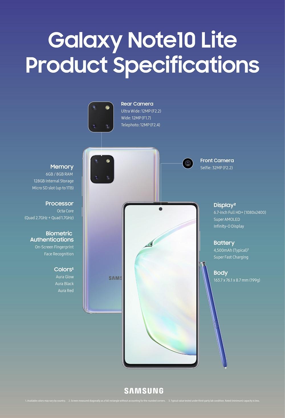Samsung lanseazăGalaxy Note10 Lite